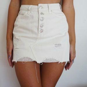 Free People White Denim Skirt